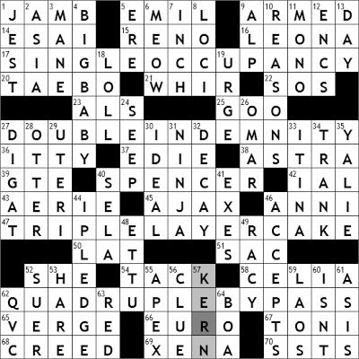 0330-09 New York Times Crossword Answers 30 Mar 09