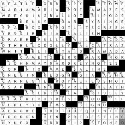 0419-09 New York Times Crossword Answers 19 Apr 09