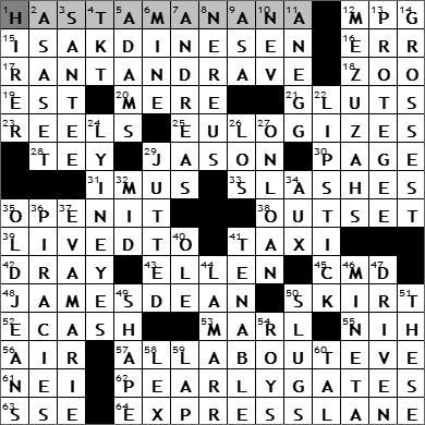 0619-09 New York Times Crossword Answers 19 Jun 09