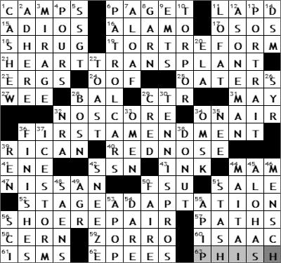 0709-09 New York Times Crossword Answers 9 Jul 09