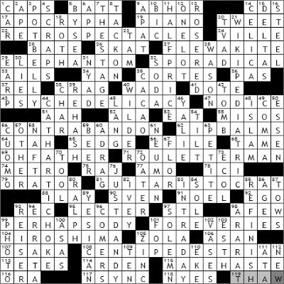 1101-09 New York Times Crossword Answers 1 Nov 09