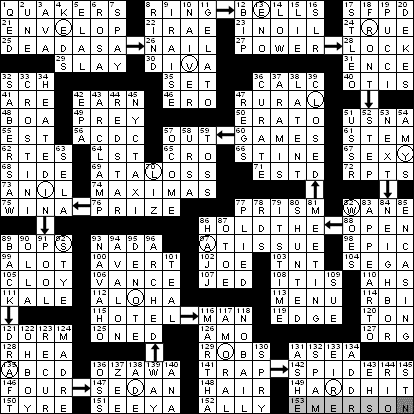 0529 11 New York Times Crossword Answers 29 May 11 Sunday Nyxcrossword Com