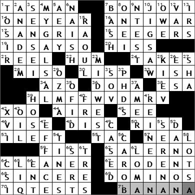 0616-11: New York Times Crossword Answers 16 Jun 11, Thursday