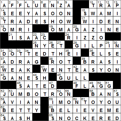 0814-15 New York Times Crossword Answers 14 Aug 15, Friday