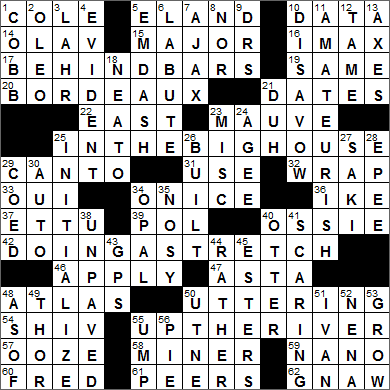 0805-15 New York Times Crossword Answers 5 Aug 15, Wednesday