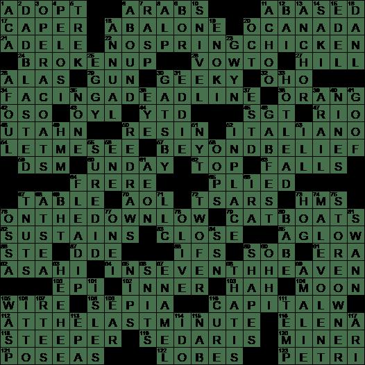 1023 16 New York Times Crossword Answers 23 Oct 16 Sunday Nyxcrossword Com