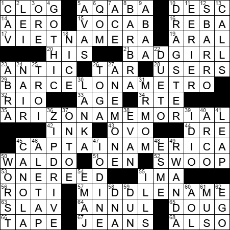 1018 16 New York Times Crossword Answers 18 Oct 16 Tuesday Nyxcrossword Com