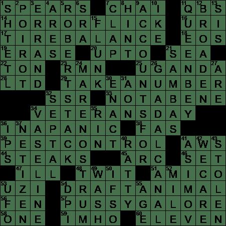 1111-17 NY Times Crossword Answers 11 Nov 2017, Saturday