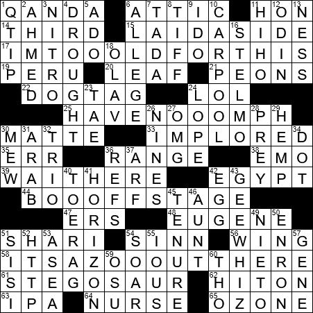 dating tips for women in their 20s crossword clue: