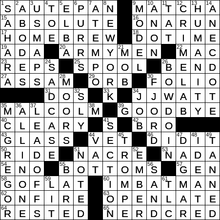 1213 18 Ny Times Crossword 13 Dec 18 Thursday Nyxcrossword Com