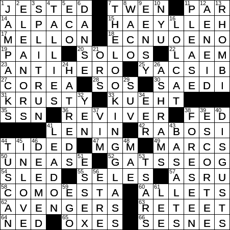 0117 19 Ny Times Crossword 17 Jan 19 Thursday Nyxcrossword Com