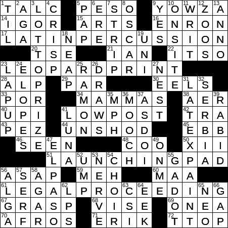 0325 19 Ny Times Crossword 25 Mar 19 Monday Nyxcrossword Com