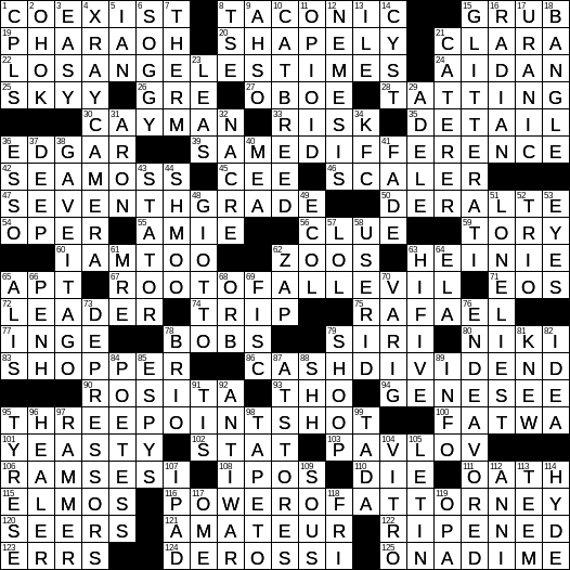 image about Ny Times Sunday Crossword Printable known as 0310-19 NY Instances Crossword 10 Mar 19, Sunday -