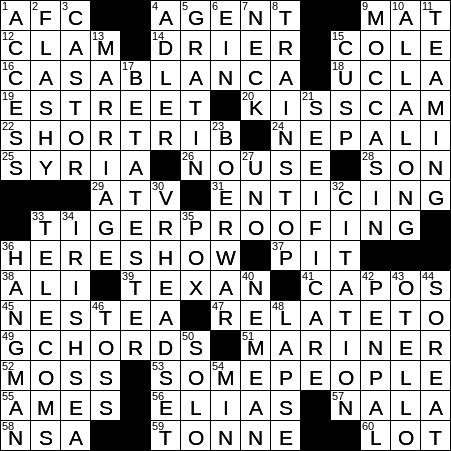 image regarding Printable Ny Times Crossword Puzzles named 0518-19 NY Days Crossword 18 May possibly 19, Saay