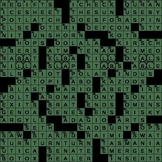 0818 19 Ny Times Crossword 18 Aug 19 Sunday Nyxcrossword Com