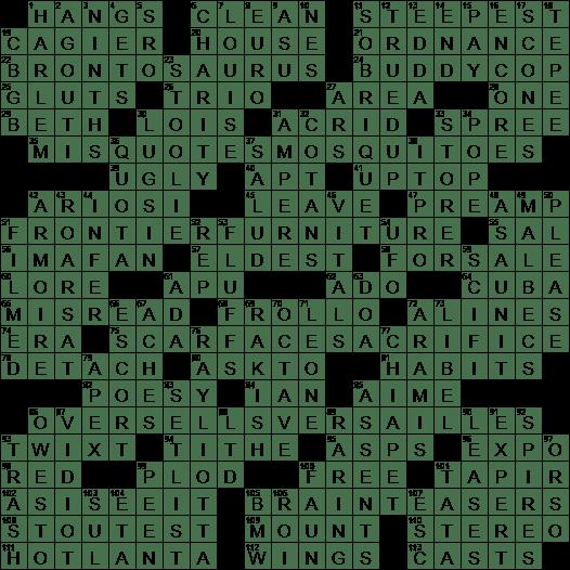 0804 19 Ny Times Crossword 4 Aug 19 Sunday Nyxcrossword Com