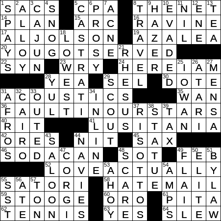 0828-19 NY Times Crossword 28 Aug 19, Wednesday