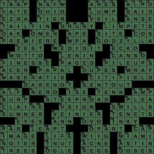0915 19 Ny Times Crossword 15 Sep 19 Sunday Nyxcrossword Com