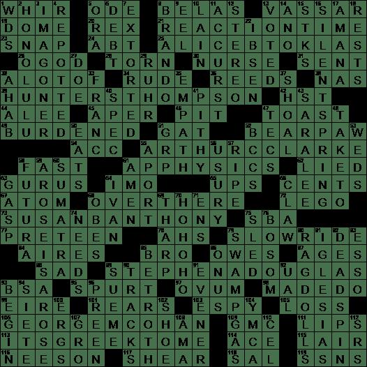 1006 19 Ny Times Crossword 6 Oct 19 Sunday Nyxcrossword Com