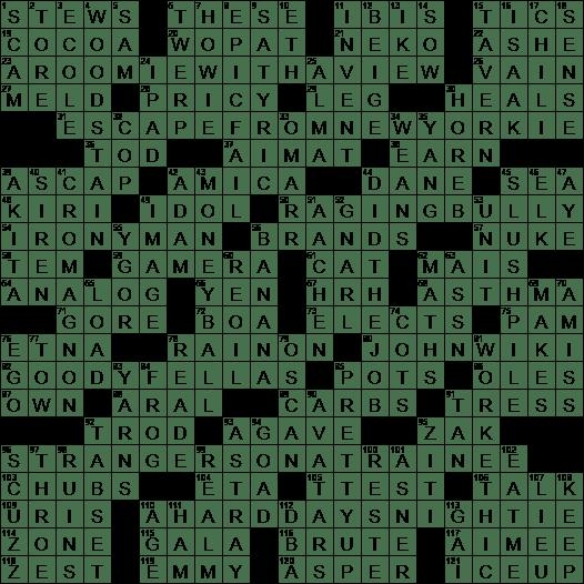 1103 19 Ny Times Crossword 3 Nov 19 Sunday Nyxcrossword Com