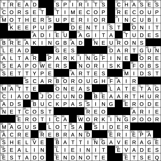 0901 19 Ny Times Crossword 1 Sep 19 Sunday Nyxcrossword Com