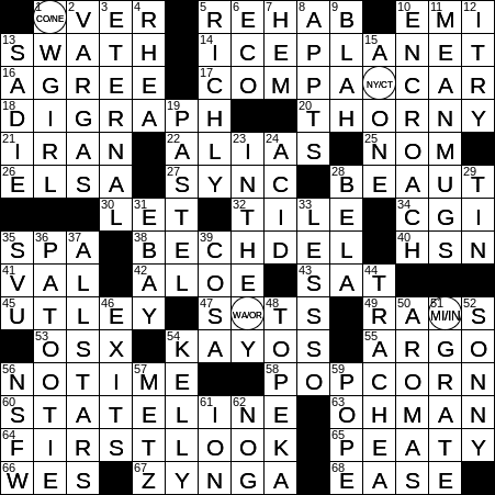 1219 19 Ny Times Crossword 19 Dec 19 Thursday Nyxcrossword Com