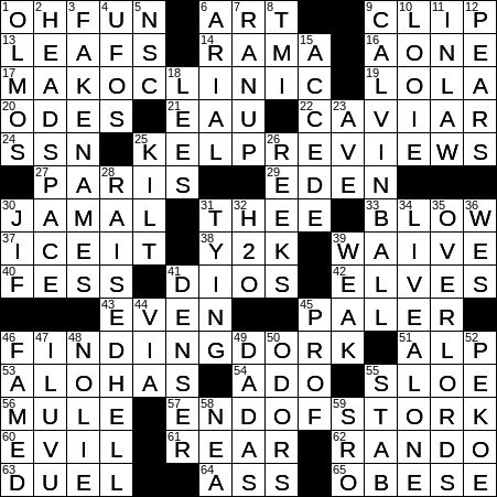 0101 20 Ny Times Crossword 1 Jan 20 Wednesday Nyxcrossword Com