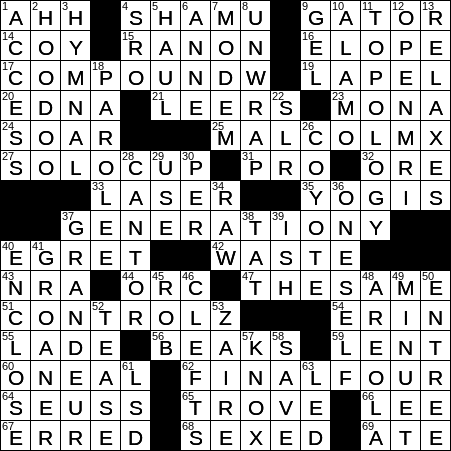 0128 20 Ny Times Crossword 28 Jan 20 Tuesday Nyxcrossword Com