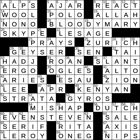 0330 20 Ny Times Crossword 30 Mar 20 Monday Nyxcrossword Com