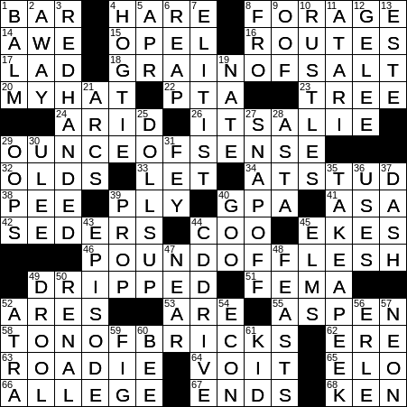 0309 20 Ny Times Crossword 9 Mar 20 Monday Nyxcrossword Com
