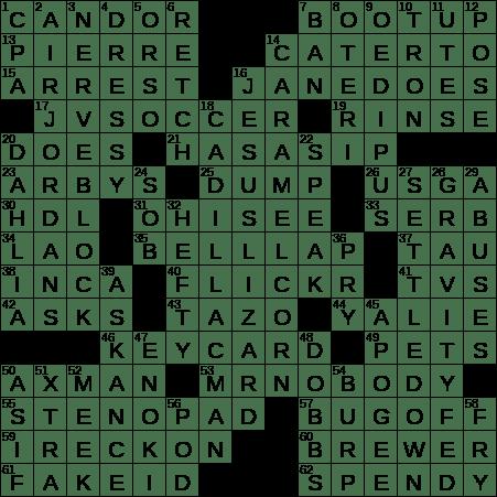 0314 20 Ny Times Crossword 14 Mar 20 Saturday Nyxcrossword Com