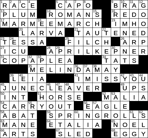 0325 20 Ny Times Crossword 25 Mar 20 Wednesday Nyxcrossword Com