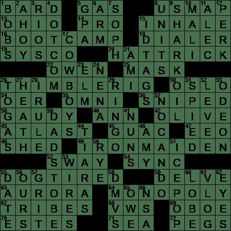 0518 20 Ny Times Crossword 18 May 20 Monday Nyxcrossword Com