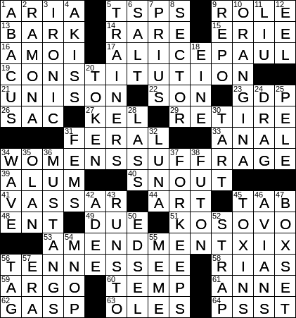 0818 20 Ny Times Crossword 18 Aug 20 Tuesday Nyxcrossword Com