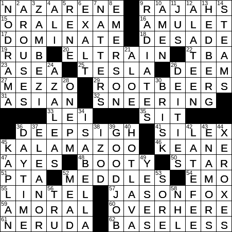 1030 20 Ny Times Crossword 30 Oct 20 Friday Nyxcrossword Com