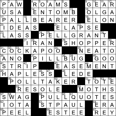 1109 20 Ny Times Crossword 9 Nov 20 Monday Nyxcrossword Com