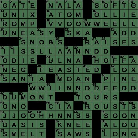 1126 20 Ny Times Crossword 26 Nov 20 Thursday Nyxcrossword Com